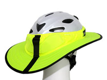 Load image into Gallery viewer, Da Brim Sporty Cycling Helmet Visor Brim in Fluorescent Yellow. Rear angled view