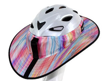 Load image into Gallery viewer, Da Brim Sporty Cycling Helmet Visor Brim in pastel ribbons. Rear angled view.