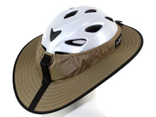 Load image into Gallery viewer, Da Brim Sporty Cycling Helmet Visor Brim in tan. Rear angled view.