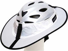 Load image into Gallery viewer, Da Brim Sporty Cycling Helmet Visor Brim in white. Rear angled view.
