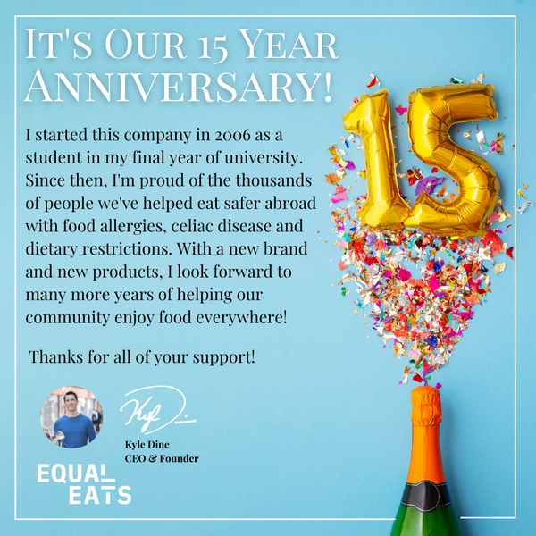 Equal Eats Allergy Cards 15 Year Anniversary