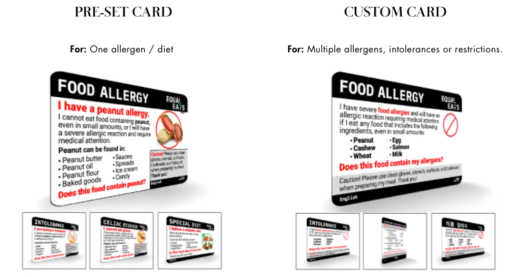Allergy Cards by Equal Eats