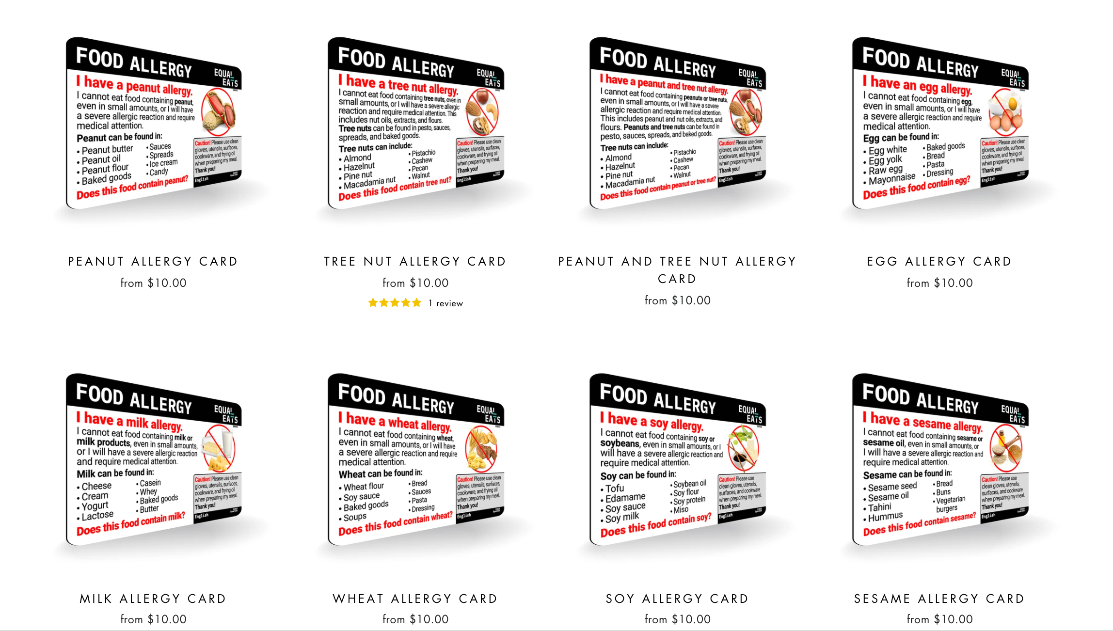 Equal Eats Allergy Cards