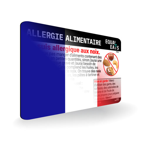 Nut Allergy in French, Allergy ID Card