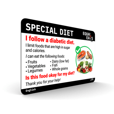 Diabetic Diet Card. Diabetes Medical ID Card. Equal Eats
