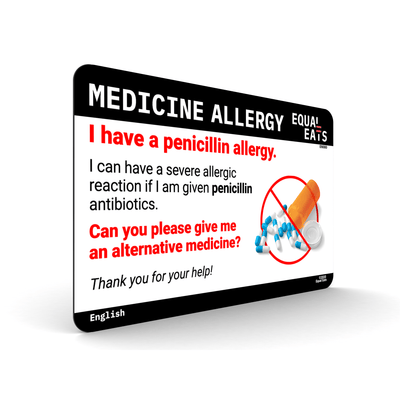 Penicillin Allergy Card. Medical ID. Medicine Allergy. Equal Eats
