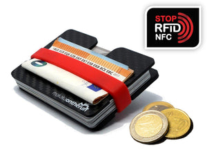 Carbon Slim Wallet | RFID-Blocking | Eingefrästes Münzfach - Makaka On The Run