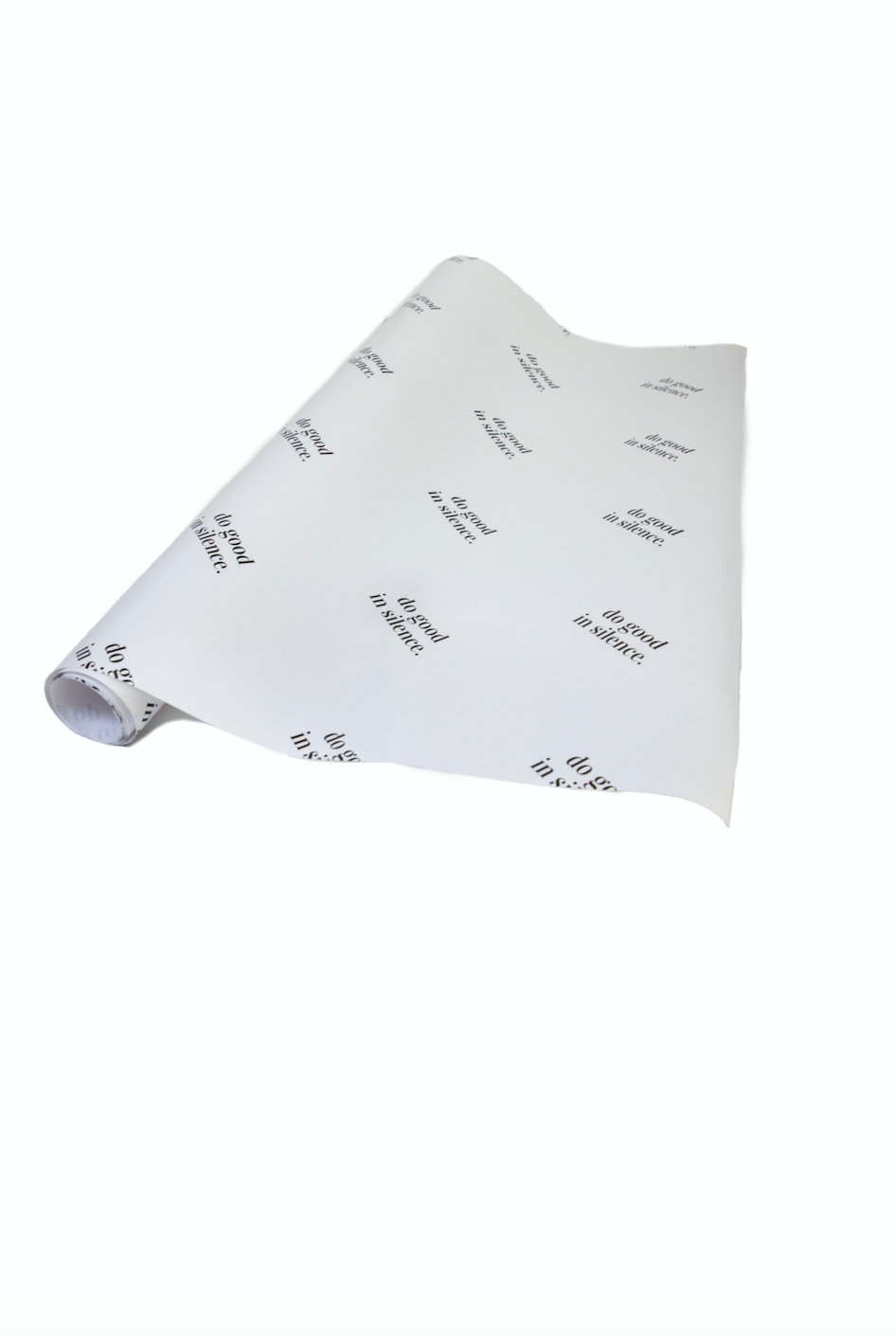 do good in silence.® wrapping paper - black and white glossy (6feet)