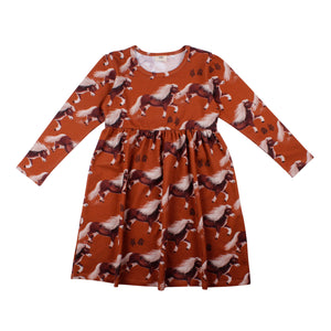 Walkiddy - Long Sleeve Dress with Gather Skirt - Lovely Pony