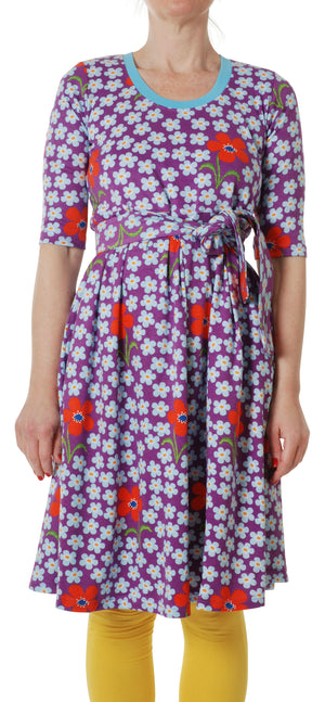 DUNS - ADULT Scoop Neck Dress - Flower Orchid Amethyst