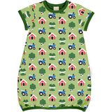 MAXOMORRA - DRESS BALLOON SHORT SLEEVE - FOREST FARM