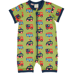 Maxomorra - Short Sleeve Romper - Colourful Cars
