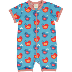 Maxomorra - Short Sleeve Romper - Bright Birds