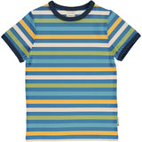 Maxomorra - Short Sleeve Top - Stripe Ocean
