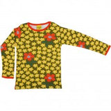 DUNS - Long Sleeve Top - Olive Flower
