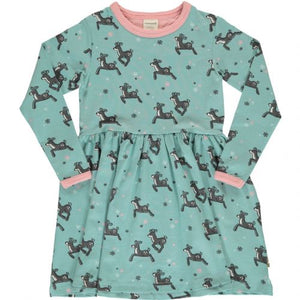 Maxomorra - Long Sleeve Spin Dress - Dashing Reindeer