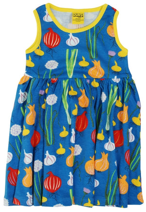 DUNS - Sleeveless Dress with Gather Skirt - Garlic Chives and Onion Blue