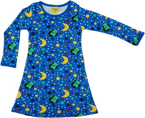 DUNS - ADULT Long Sleeve A Line Dress - Mother Earth Blue