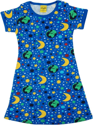 DUNS - ADULT Short Sleeve A Line Dress - Mother Earth Blue