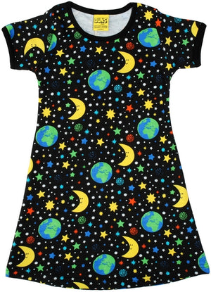 DUNS - ADULT Short Sleeve A Line Dress - Mother Earth Black