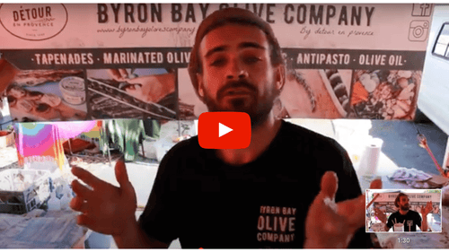 Antoine and the Byron Bay Olive Co at the markets