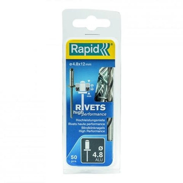 Rapid Rivets 4.8x12mm High Perf Alu 50pc Drill