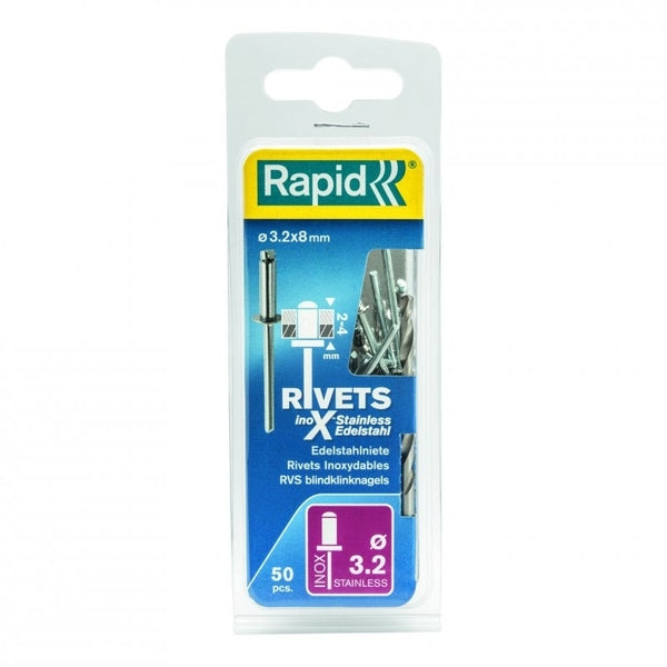 Rapid Rivets 3.2x8mm Stainless Steel 50pc Drill
