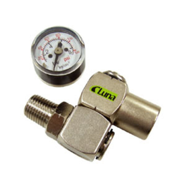 Luna Air 1/4in Universal Swivel Air Inlet W/Gauge