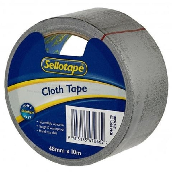 Sellotape Cloth Tape Black 48mmx10m x 3