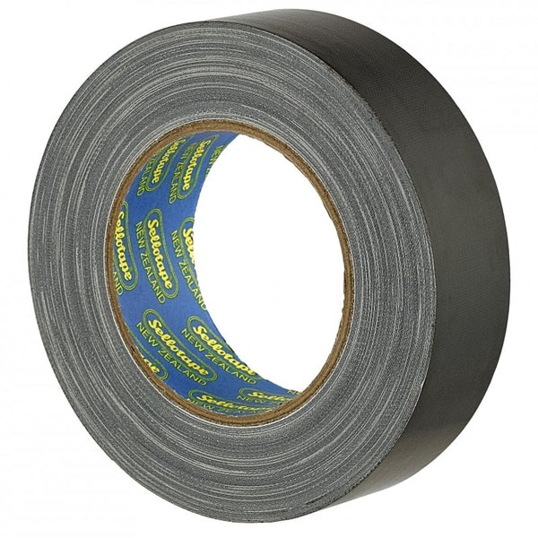 Sellotape Cloth Tape Black 36mmx30m x 4