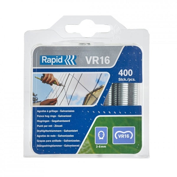 Rapid Fence Hog Ring Staples VR16 Galv 400pcs