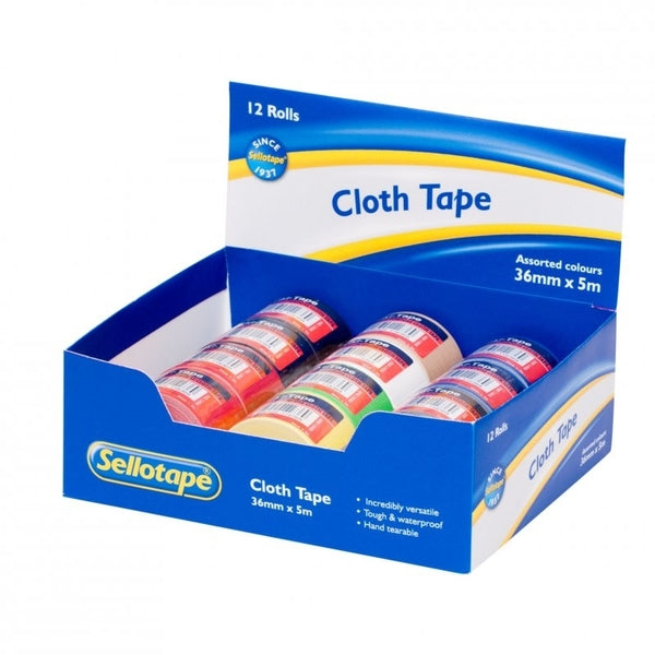 Sellotape Cloth Tape Display Box Mixed x 12