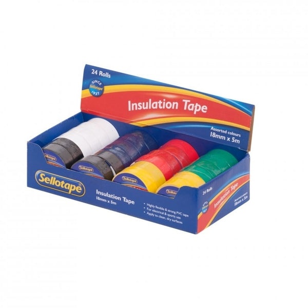 Sellotape 18mm Insulation Tape Assorted Box Of 24