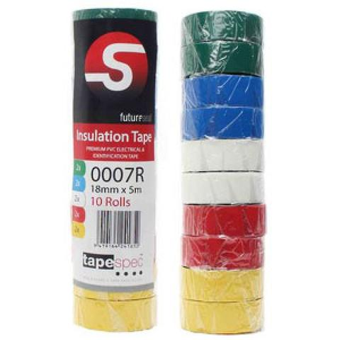 Tapespec Pvc Insulation Tape 18mm x 5M - Rainbow Pack