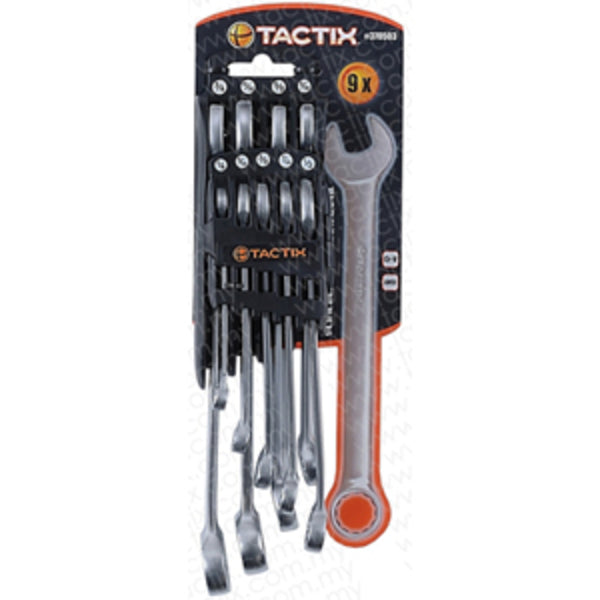 Tactix 9Pc Combination Spanner Set - Metric
