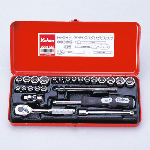 Koken 2201AM Socket Set 12pt 25pc 1/4Dr 3/16-1/2 & 4-13mm