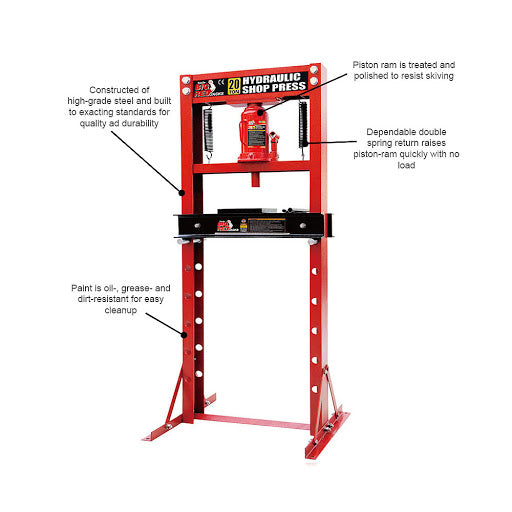 Big Red Hydraulic Press 20 Ton 150mm Stroke