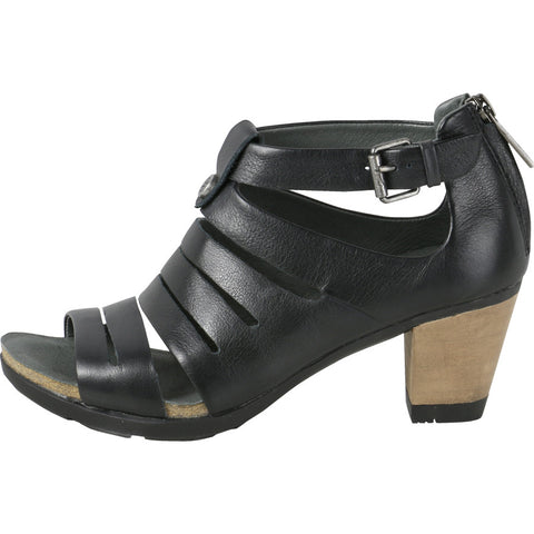 La Jolla Incisions Wooden Heel Sandals (Black)