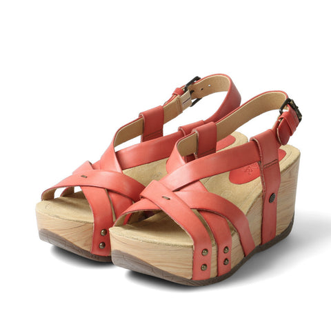 Formentera Cross Strap Flatform Sandals (Flame)