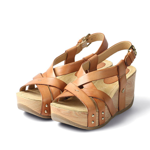 Formentera Cross Strap Flatform Sandals (Toffee)
