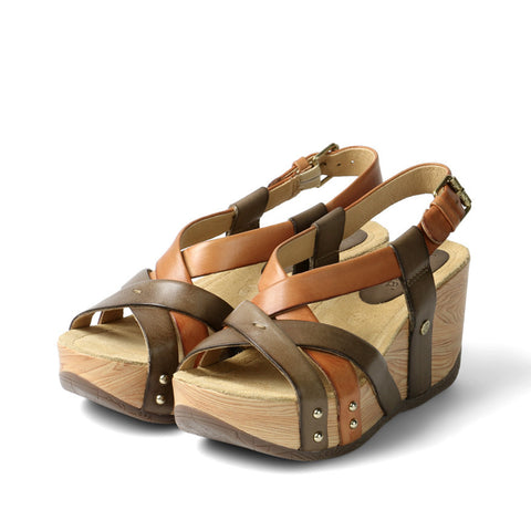 Formentera Cross Strap Flatform Sandals (Choco/Toffee)