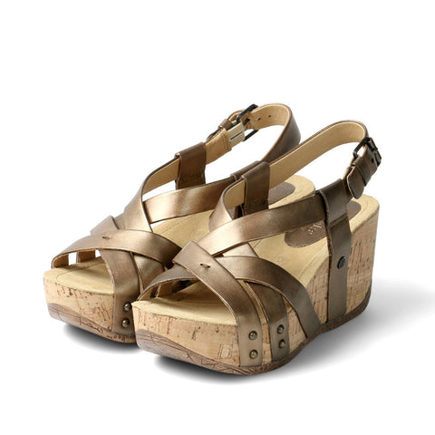 Formentera Cross Strap Flatform Sandals (Bronze)