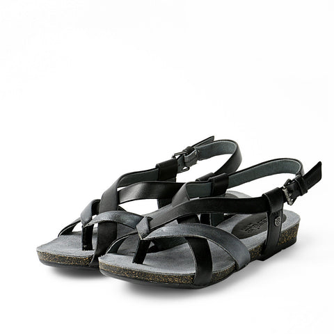 Maynila Flip-Flops Cross Strap Sandals (Black)