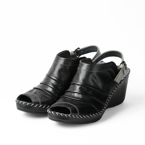 Baracoa Glove Wedge Sandals (Black)