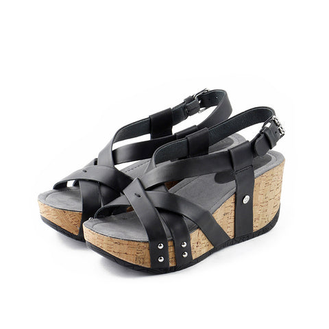 Formentera Cross Straps Wedges (Black)