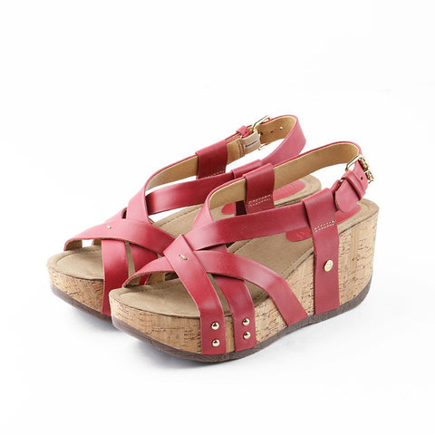 Formentera Cross Straps Wedges (Rosso)