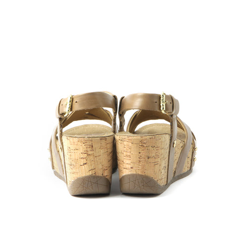 Formentera Cross Straps Wedge Sandals (Sabbia)