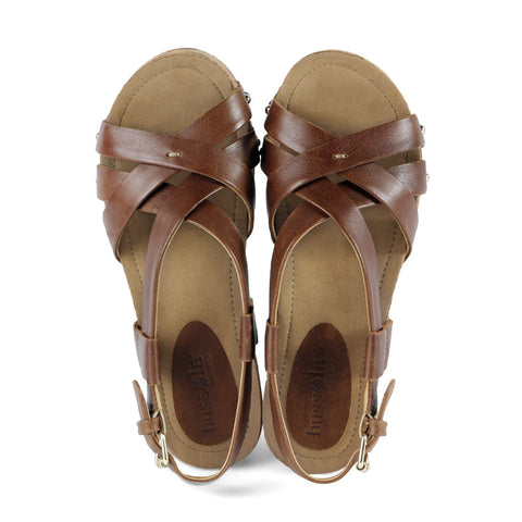 Formentera Cross Straps Wedges (Tobacco)