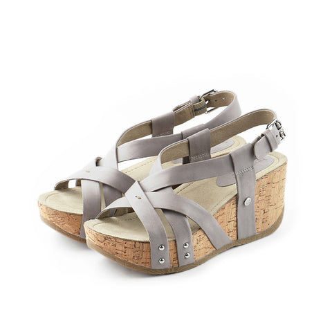 Formentera Cross Straps Wedges (Light Grey)