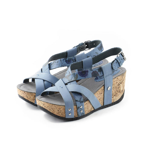 Formentera Cross Straps Wedges (Floral Bluebell)